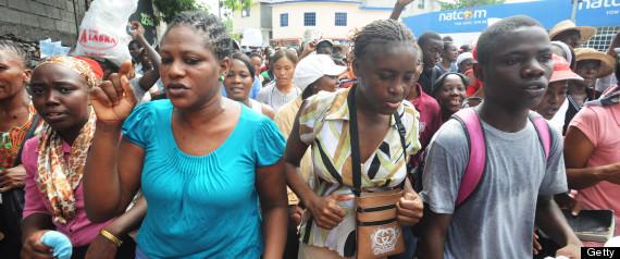 No dia 19/07, haitianos foram às ruas se manifestar contra um inexistente projeto de lei do casamento igualitário (Foto: Getty Images)